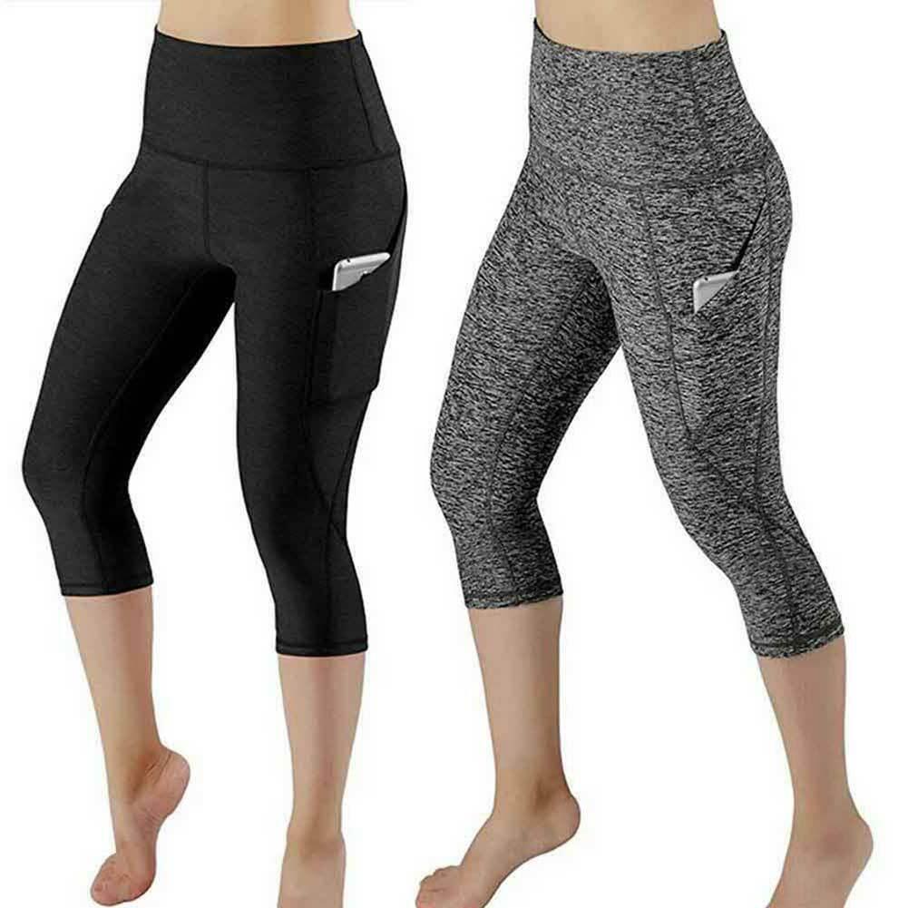 Women 3/4 Capri YOGA Pants Pocket Gym Sport Fitness Cropped