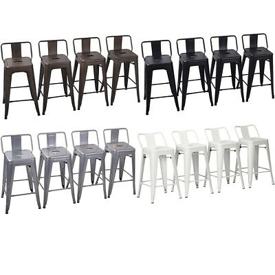 Set of 4 Metal Bar Stools Counter Height Barstool Chair w/ Low Back -