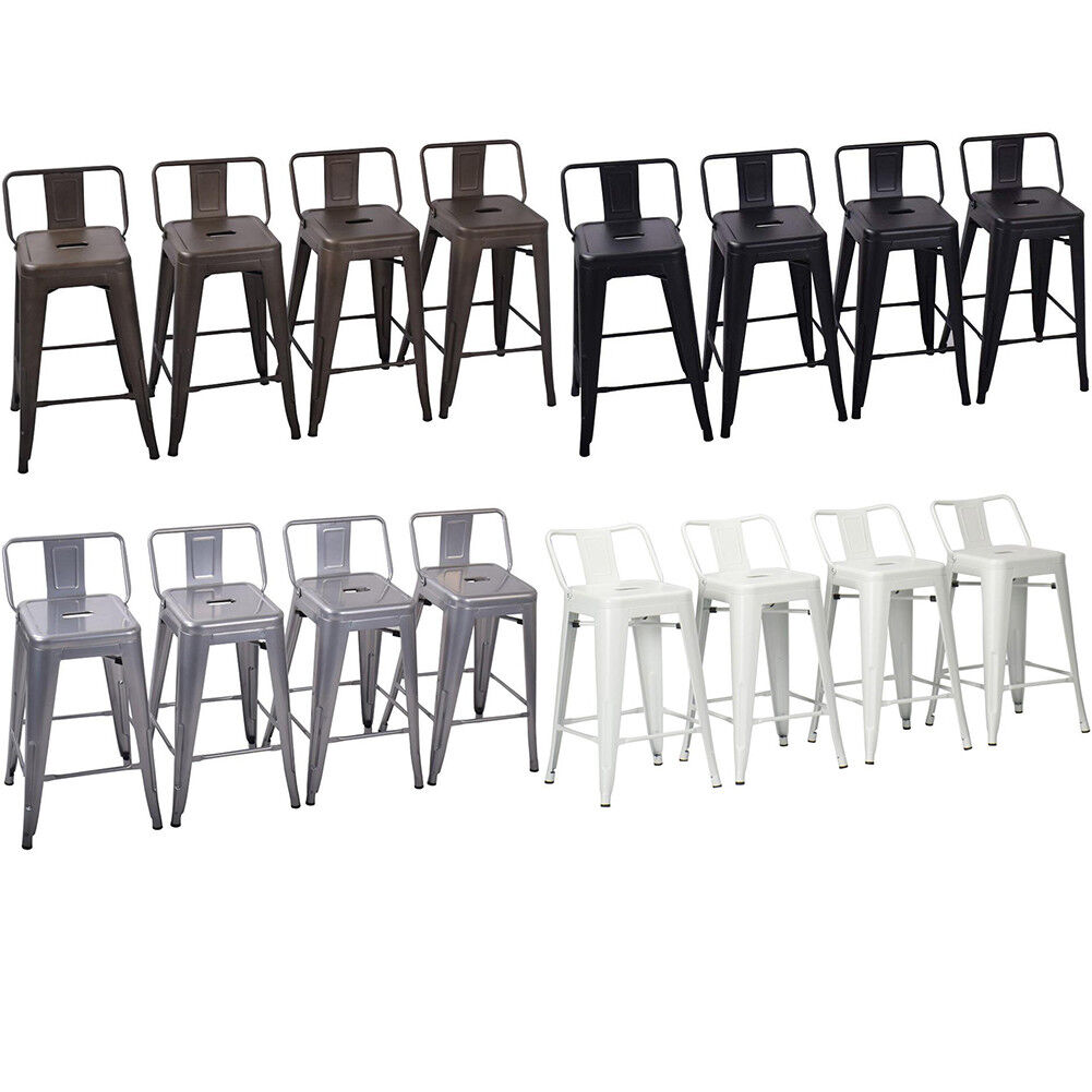 Excellent Set Of 4 Metal Bar Stools Counter Height Barstool Chair W Low Back 18 24 26 30 Ncnpc Chair Design For Home Ncnpcorg