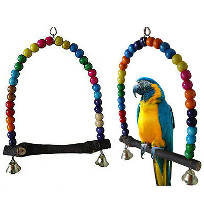 Pet Bird Parrot Swing Cage Finch Parakeet Cockatiel Lovebird Budgie Toys Holder