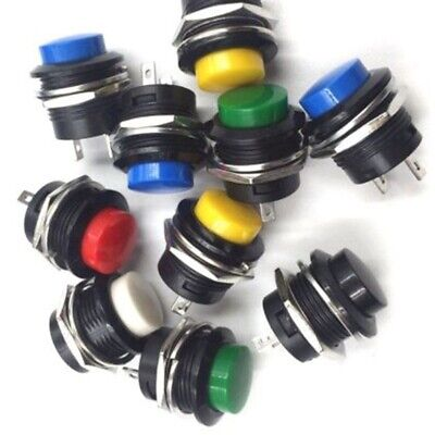 2010pcs Round Metal Push Button Momentary Switch Black White Red Green Lot 16mm