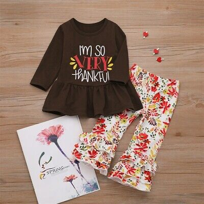 US Toddler Kids Baby Girl Thanksgiving Dress Tops Floral Pants Outfit Clothes