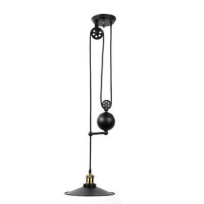Vintage Industrial Hanging Pulley Pendant Light Adjustable Wire Retractable Lamp