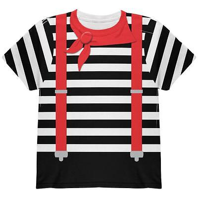 Halloween French Mime Costume All Over Youth T Shirt - French Mime Halloween