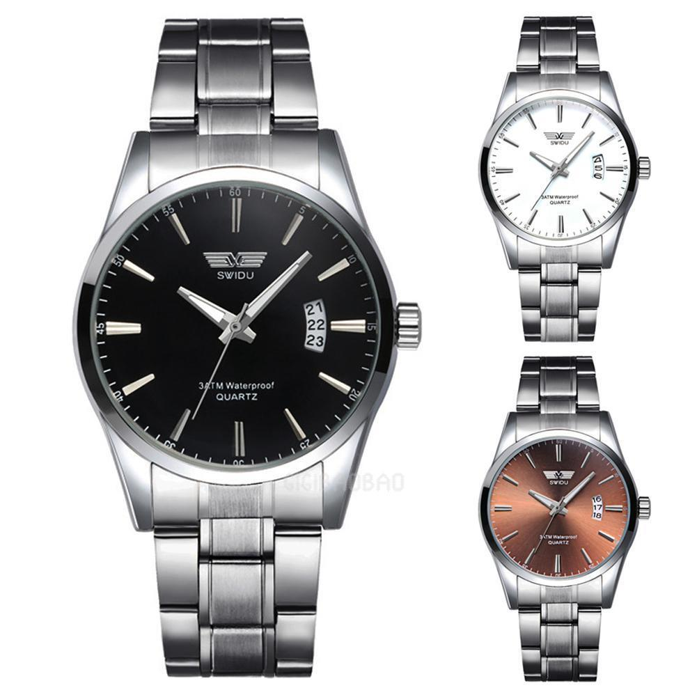 $4.59 - New Casual Luxury Men's Stainless Steel Band Round Dial Quartz Wrist Watch Hot