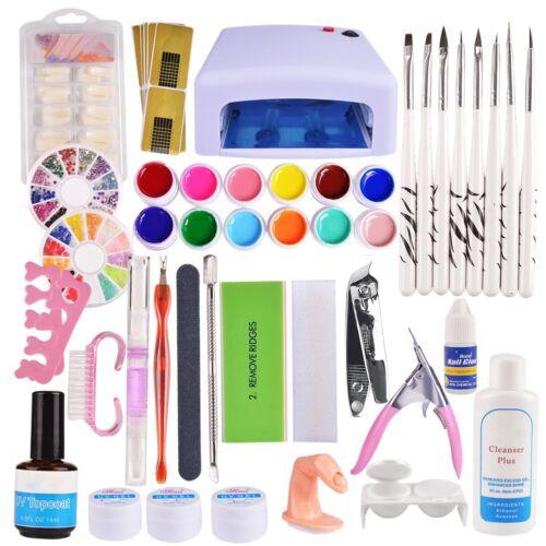 23 UV Gel Set Nagelfräser Starterset Nagelstudioset Nailart Farbgele Nagelfeile