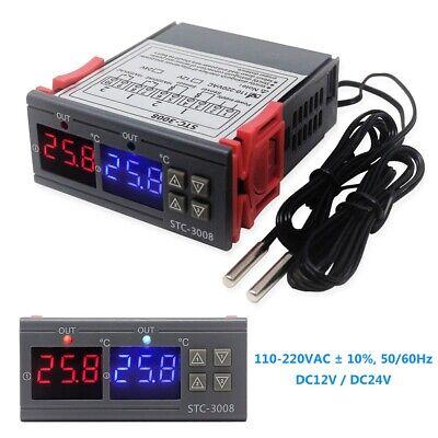 Stc-3008 Dc 1224v Ac 220v Dual Digital Electronic Temperature Controller Sensor