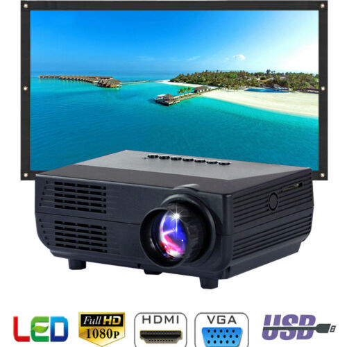 1080P HD Multimedia Cinema Home Theater Mini LED Projector USB AV TV VGA HDMI TV