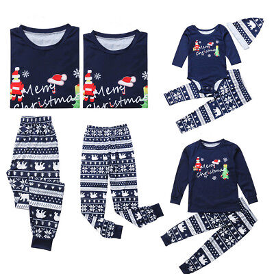 USA Christmas Family Matching Pajamas PJs Set Dad Mum Kids Baby Xmas Sleepwear (Matching Family Pajamas Christmas)