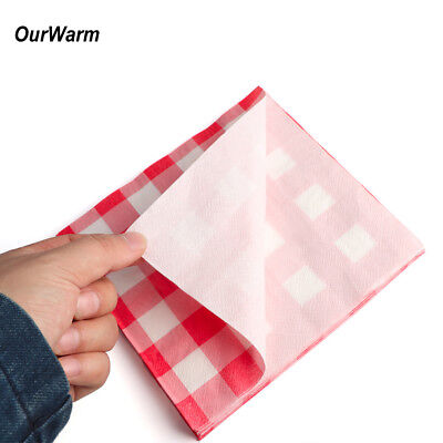 20x Paper NAPKINS 33cm Red and White Checkered Disposable Tableware Party Favor](Red Checkered Napkins)