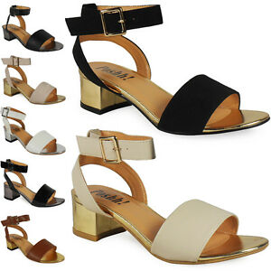 NEW-WOMENS-LADIES-ANKLE-STRAP-LOW-BLOCK-HEEL-SHOES-CHUNKY-BUCKLE-SANDALS-SIZE