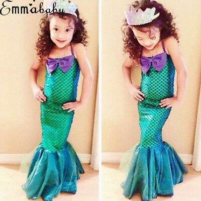 Little Girl Mermaid Costumes (US Kids Ariel Little Mermaid Set Girl Princess Fancy Dress Party Cosplay)