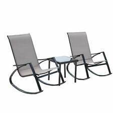 3pcs Bistro Set Rocking Lounger Patio Garden Pool 2 Chairs