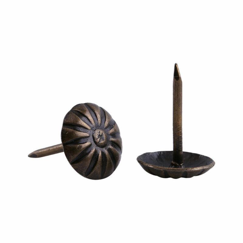 100pcs Vintage Upholstery Nails Bronze Metal Tags Furniture Decorative Tack Stud