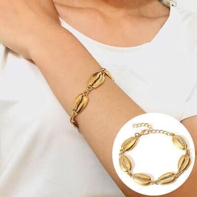(Gold Silver Women Beach Cowrie Sea Shell Bracelet Bangle Cuff Fashion Jewelry)