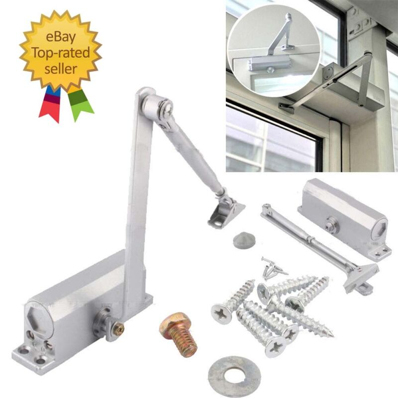 25-45KG Silver Aluminum Commercial Door Closer Two Independent Valves Control