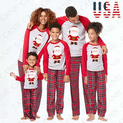 USA Family Matching Adult Women Kids Baby Sleepwear Nightwear Pajamas Christmas - Kid Pjs