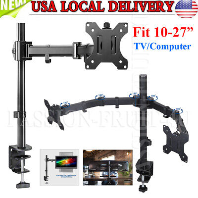 Desk Mount Monitor Arm (New Single /Dual Arm Monitor Desk Mount Computer TV Screen Bracket Stand 13-27'' )