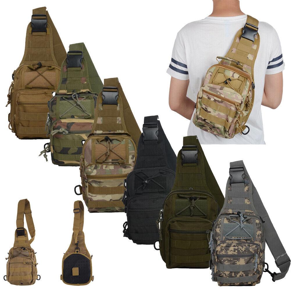 Tactical Molle Sling Chest Bag Assault Pack Messenger Shoulder Backpack for Men Camping & Hiking