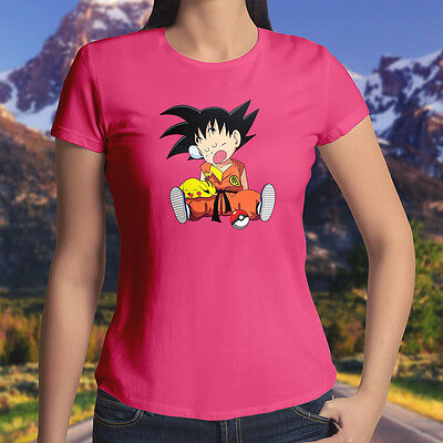 u Kid Goku Cute Fun Shirt Juniors Girls Womens Tee T-Shirt (Pikachu Anime Girl)