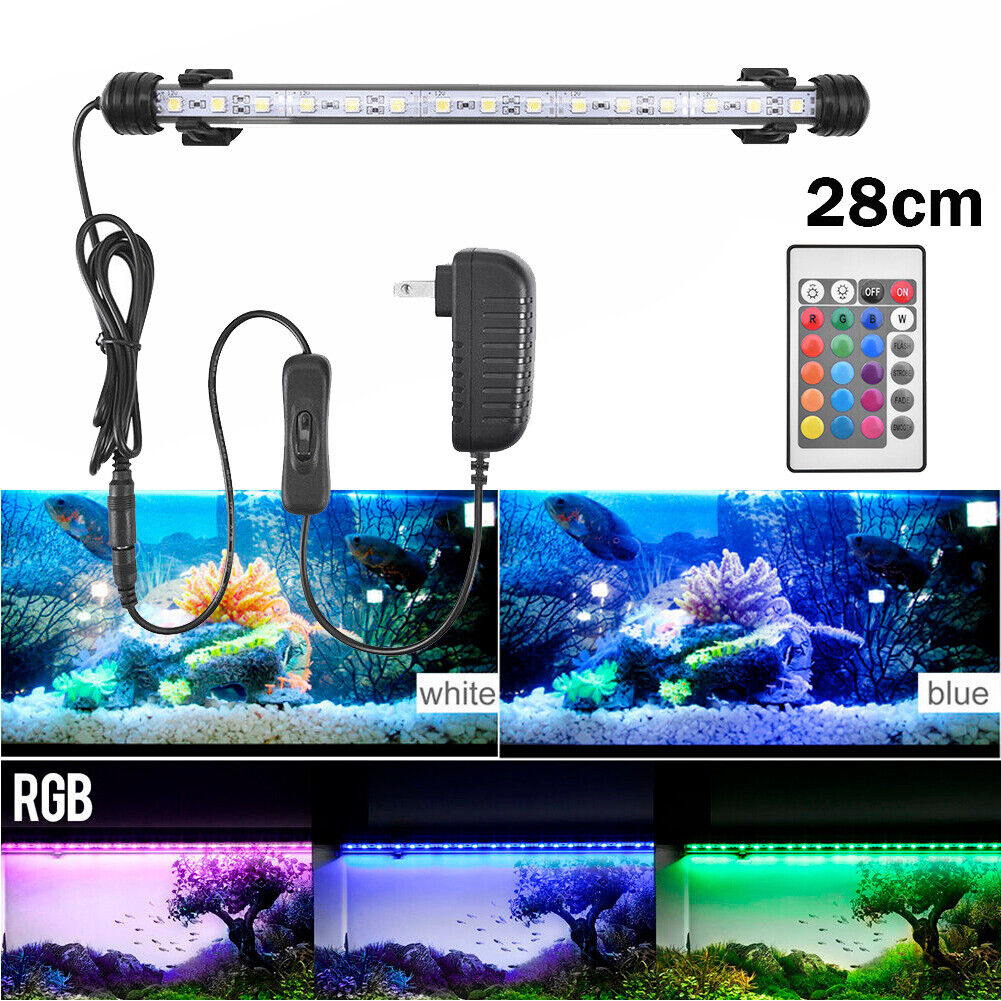 Aquarium Fish Tank RGB LED Light Submersible Waterproof Bar Strip Lamp Lighting 28cm(For 35-40cm Fish Tank)