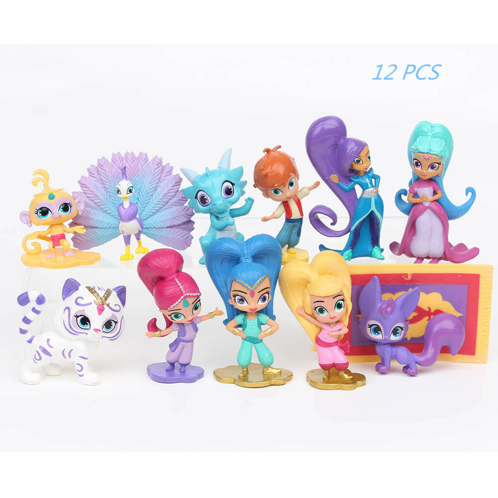 ae8cc2089a Details about 12 Pcs Shimmer And Shine Leah Zac Kaz Tala Nahal Action  Figure Kids Child Toy UK