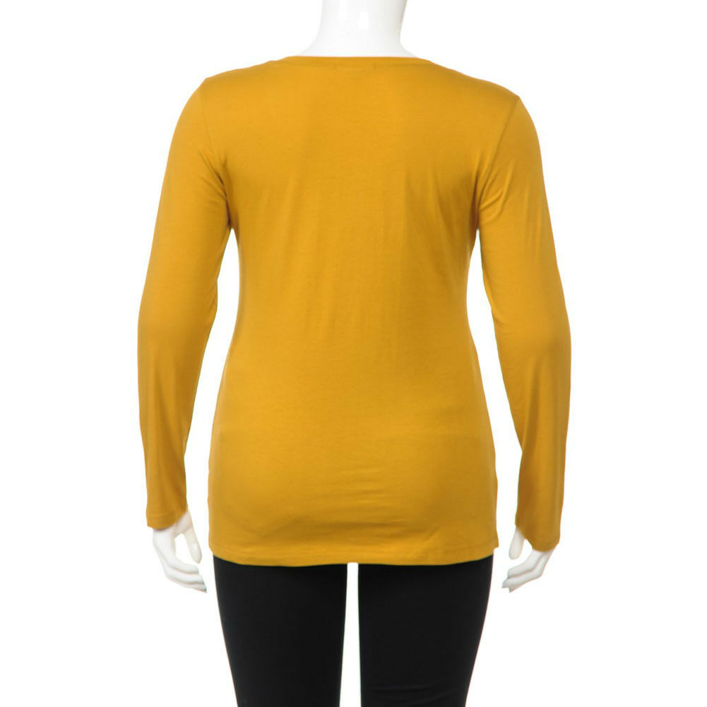 Plus Size Casual Cotton Jersey Scoop-Neck Long Sleeve FITTED T-Shirt Top 1XL~3XL