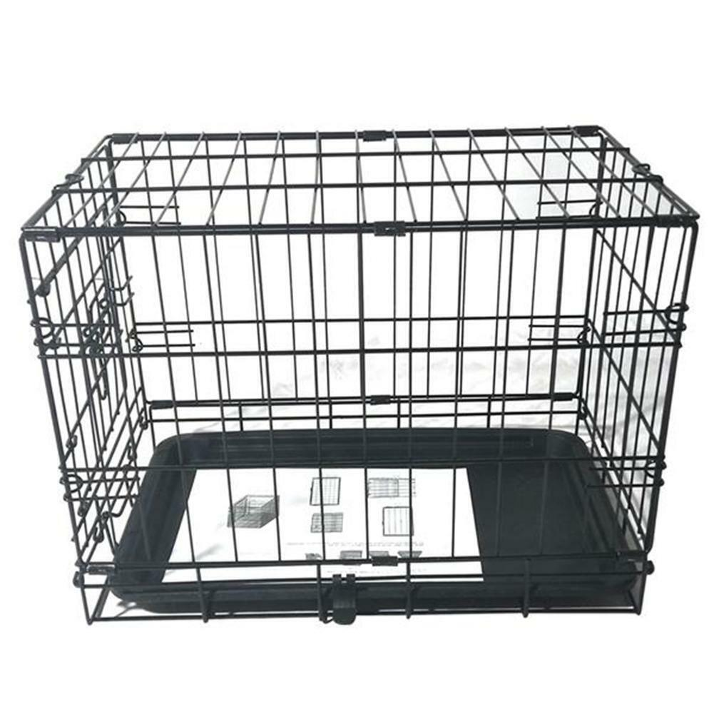 20 inch Pet Kennel Cat Dog Folding Steel Crate Black Animal