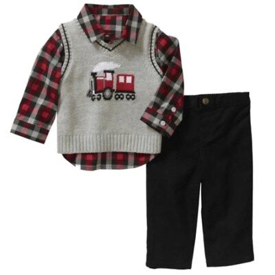 George Infant Boys 3P Holiday Outfit Gray Train Sweater Vest Plaid Shirt & Pants Boys Holiday Plaid Vest
