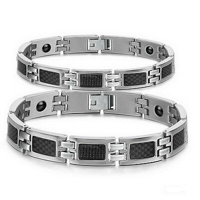 Carbon Fiber Titanium Magnetic Therapy Link Bracelet Germanium Energy Wristband