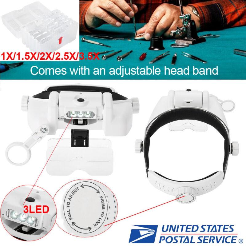 Adjustable Headband Headset 3 LED Watch Magnifier Magnifying Glass Lights 5 Lens