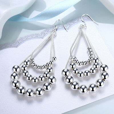 Silver Ball Drop - Womens 925 Sterling Silver Chandelier Beads Ball Long Drop Dangle Earrings #E172