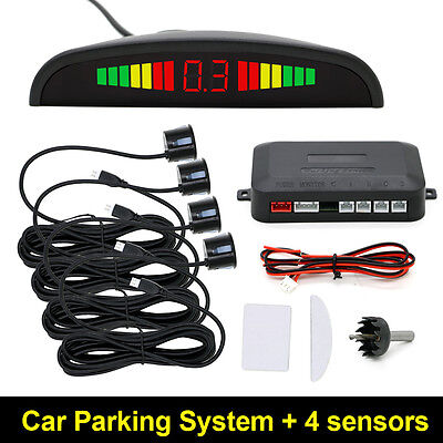 Black 4Car Parking Sensor Auto Backup Reverse Radar System Alarm Kit LED Display
