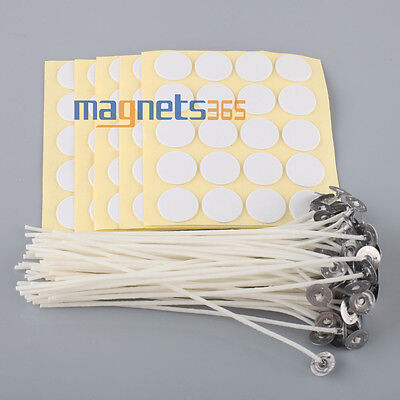 "100 x Candle Wicks 6"" COTTON Core Candle Making Supplies Pretabbed + Stickers"