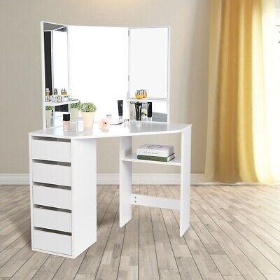 Makeup Vanity Dressing Table Set Dresser Desk w/ Mirror + 5 Drawers White
