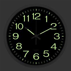 Large Quartz Wall Clock Non Ticking Luminous Number Night Light Home Decor 12''