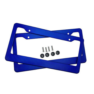 Pair Car License Plate Frame Cover Blue Carbon Fiber Painted 11.23x4.45inch ()