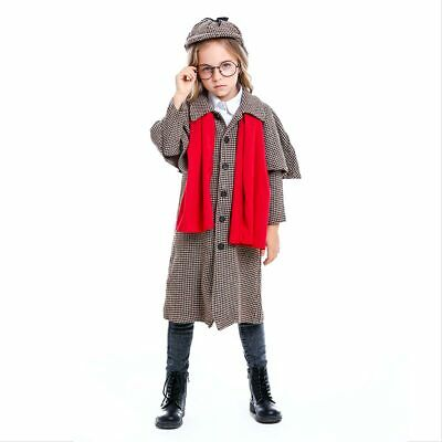 Girls Sherlock Holmes Detective Costume Coat Hat Red Scarf Party Halloween Stage - Girl Detective Halloween Costume