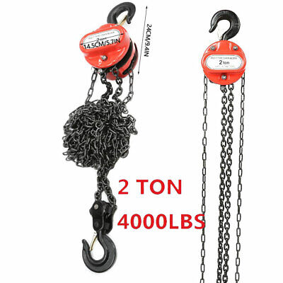 New 4000lb 2 Ton Chain Hoist Winch Engine Lift System Rigging Puller Block Fall.