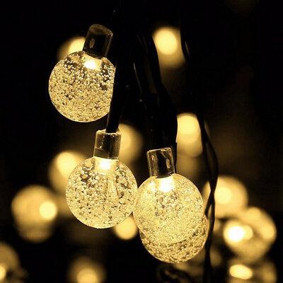Solar Garden String Fairy 50 LED Crystal Globe Ball Weatherproof Lights Lamps - Led Crystal Ball