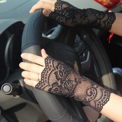 Women Summer Fingerless Lace Gloves UV-proof Driving Gloves Wedding Gloves Bling - Lace Fingerless Gloves