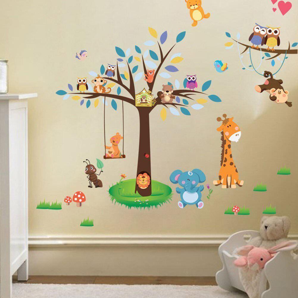 Einzigartig Wandtattoo Tiere Kinderzimmer Referenz Von W201 Baum Ca.