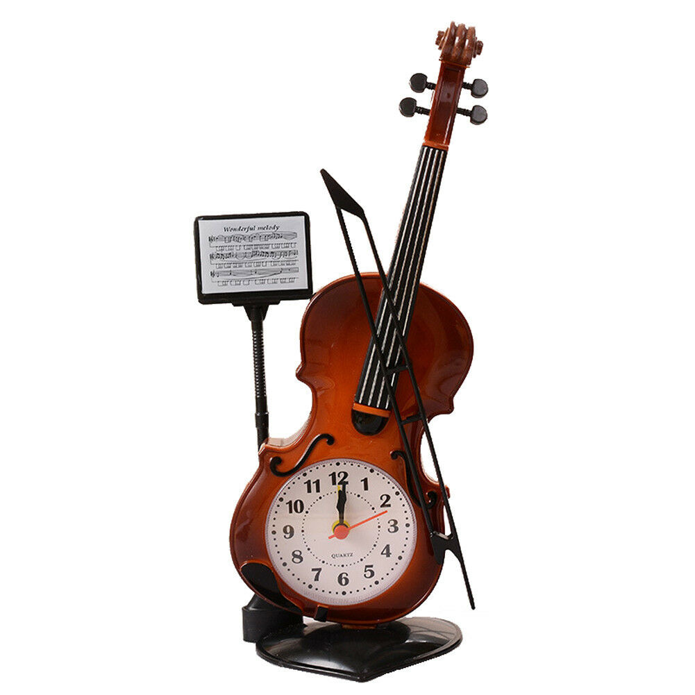 Violin Quartz Analog Alarm Clock Desk Decoration - Great Gifts Red-brown Easter