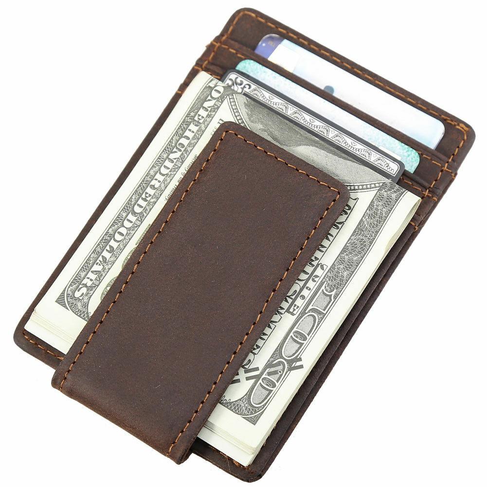 RFID Vintage Men Real Leather Slim Money Clip Card ID Holder