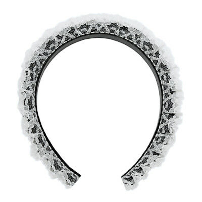 French Maid Headband with White Lace Ruffles ~ HALLOWEEN MAID COSTUME DRESS UP