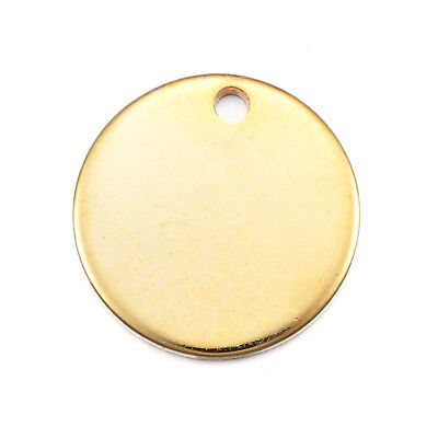 50pcs Gold Plated 304 Stainless Steel Dog Tag Charms Stamping Blanks Round 13mm