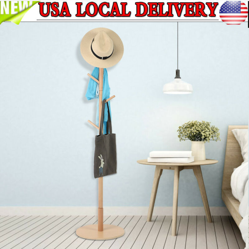 Wooden Coat Rack Stand Clothes Tree with Round Base for Entryway Hall Decoration