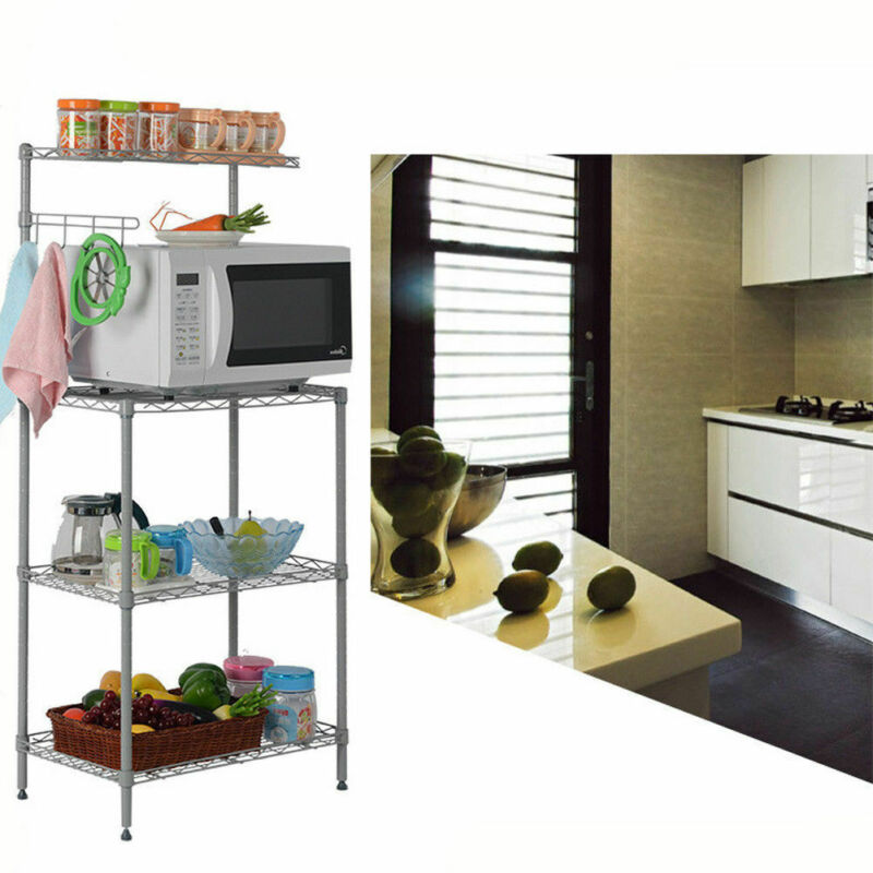 4 Tier Kitchen Rack Shelf Microwave Oven Storage Cart Workstation Home saving