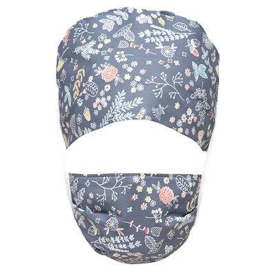 Floral Print Surgical Scrub Cap w/ Sweatband Doctor Nurse Working Hat Adjustable