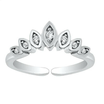 Crown Design Clear CZ Toe Ring Sterling Silver 925 Ship from USA